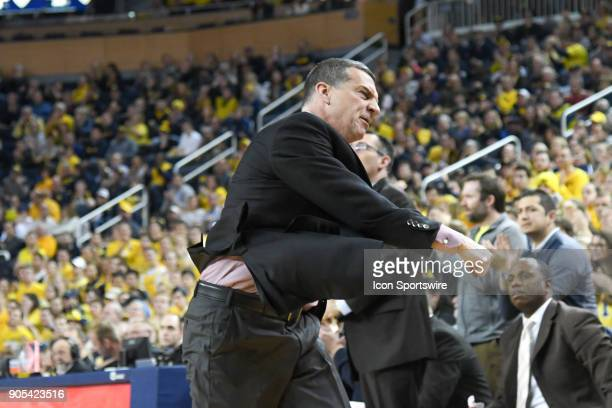 Maryland Terrapins head coach Mark Turgeon shows his frustration during the Michigan Wolverines game versus the Maryland Terrapins on Monday January...
