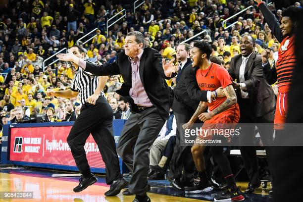 Maryland Terrapins head coach Mark Turgeon yells to his team following the shot to put them ahead 6766 with 32 seconds remaining during the Michigan...