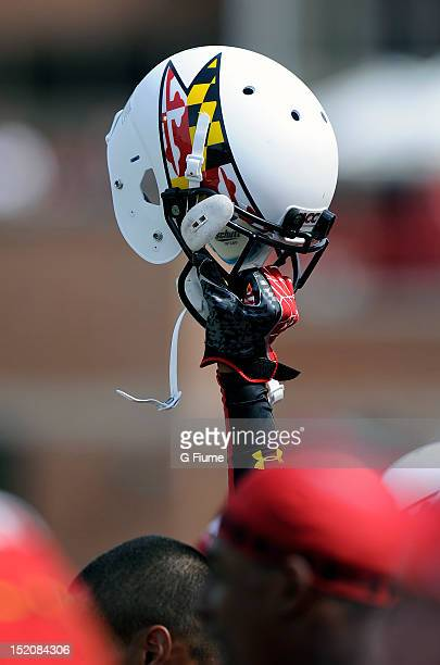 Maryland Terrapins helmet is held in the air during the game against the William Mary Tribe at Byrd Stadium on September 1 2012 in College Park...