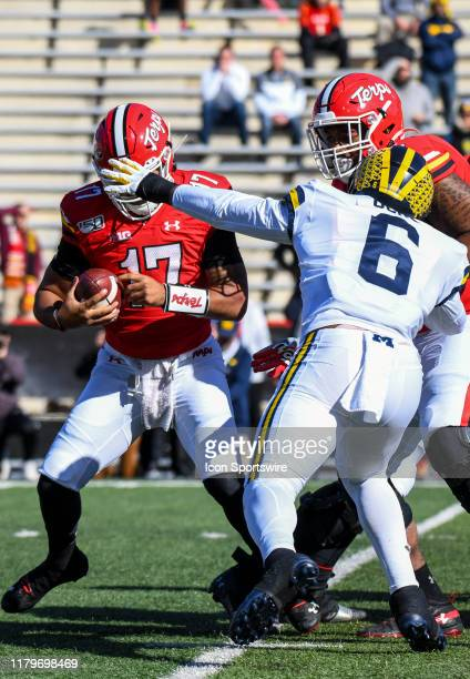 Maryland Terrapins quarterback Josh Jackson is sacked in the second quarter by Michigan Wolverines linebacker Josh Uche on November 2 at Capital One...