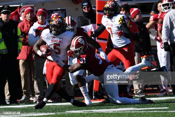Maryland Terrapins running back Anthony McFarland is shoved by Indiana Hoosiers defensive back Bryant Fitzgerald during the Big Ten conference...