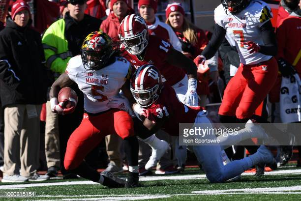 Maryland Terrapins running back Anthony McFarland is tackled by Indiana Hoosiers defensive back Bryant Fitzgerald during the Big Ten conference...