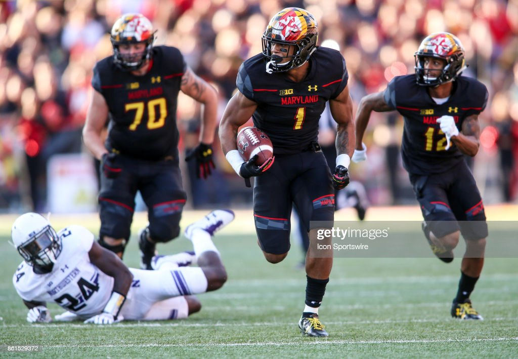 Maryland Terrapins wide receiver D.J. Moore (1) springs clear on his way to a touchdown in the second quarter during a college football game between the Maryland Terrapins and the Northwestern Wildcats on October 14, 2017, at Capital One Field at Maryland Stadium, in College Park, Maryland.