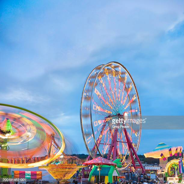 usa, maryland, timonium, midway of maryland state fair, dusk - maryland us state stock pictures, royalty-free photos & images