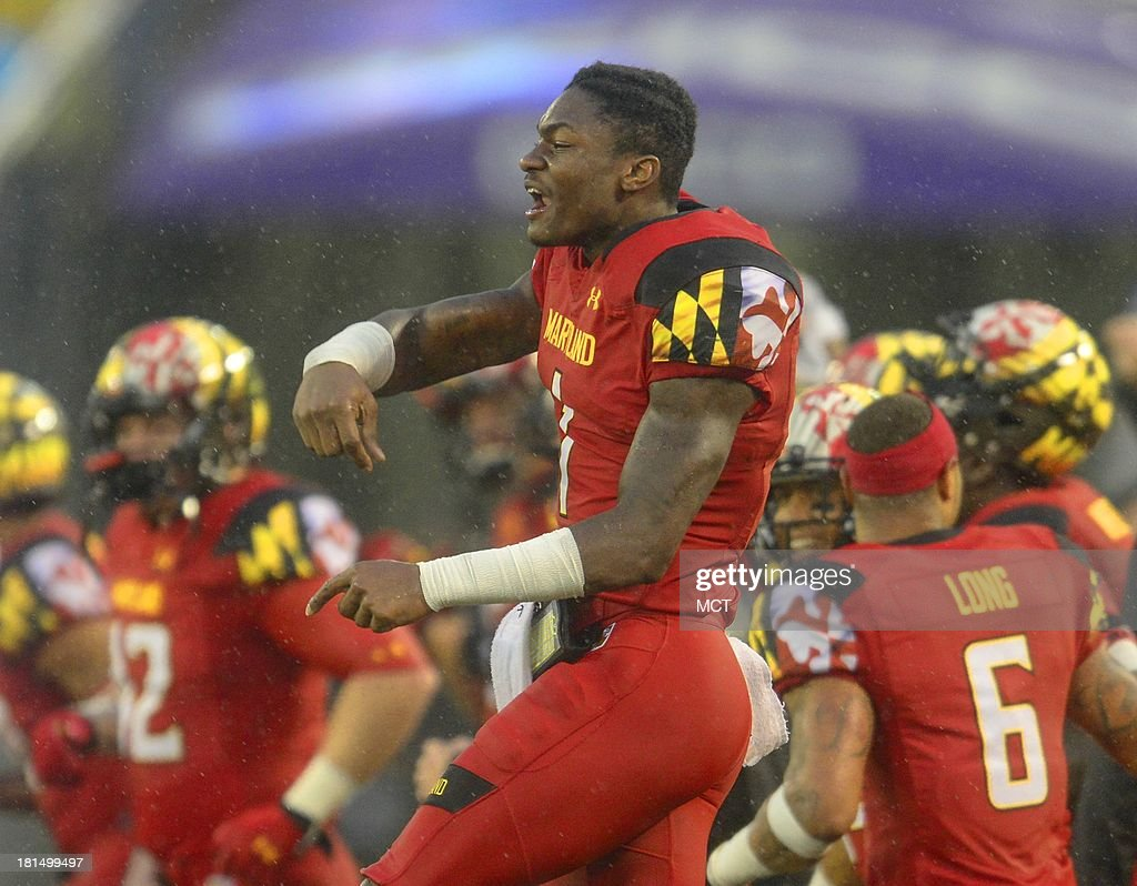Maryland wide receiver Stefon Diggs celebrates a stunning 37-0 shutout of West Virginia with his teammates following their game at M&T Bank Stadium in Baltimore, Maryland, Saturday, September 21, 2013.