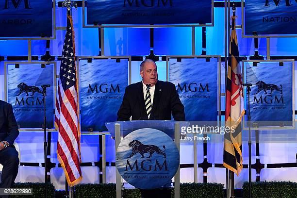 MarylandÊGovernorÊLarry Hogan speaks at the MGM National Harbor Grand Opening Celebration on December 8 2016 in National Harbor Maryland