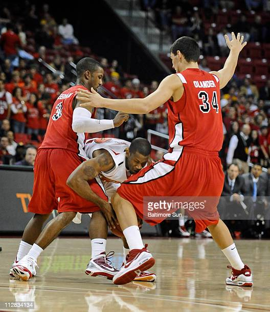 Maryland's Adrian Bowie center is trapped by Fairfield's Derek Needham left and Ryan Olander right in the second half of play Maryland defeated...