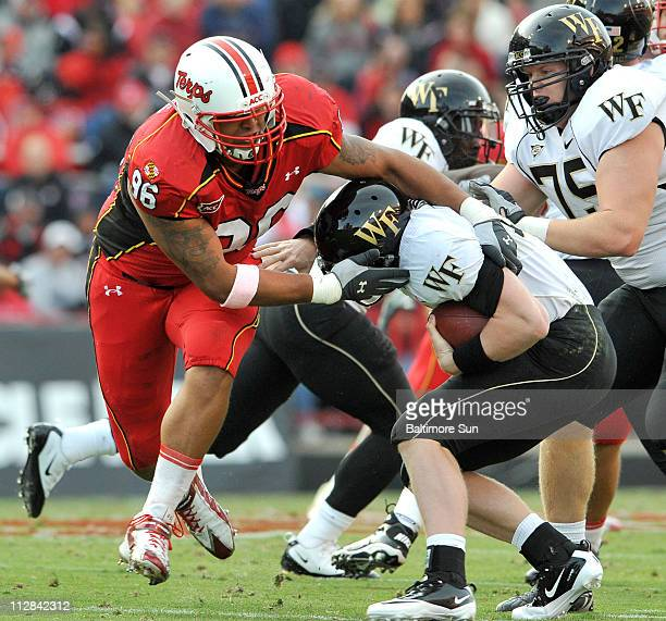 Maryland's AJ Francis sacks Wake Forest quarterback Tanner Price in the second quarter at Byrd Stadium in College Park Maryland Saturday October 30...