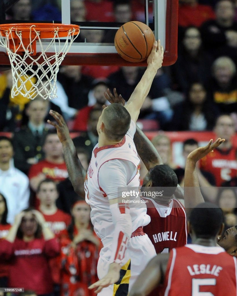 Maryland's Alex Len blocks a first-half shot by North Carolina State's Richard Howell at the Comcast Center on Wednesday, January 16, 2013, in College Park, Maryland.