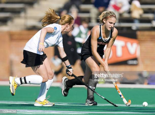 Maryland's Alexis Pappas is defended by Wake Forest's Lauren Crandall during first half action at the 2006 NCAA Division I Field Hockey Championship...