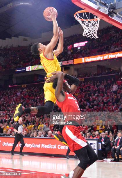 Maryland's Anthony Cowan Jr left drives to the basket against Nebraska's Cam Mack in the first half on Tuesday Feb 11 2020 at Xfinity Center in...