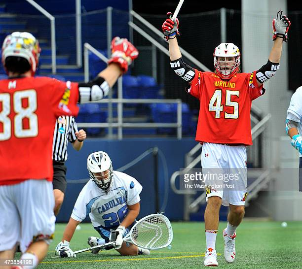 Maryland's Bryan Cole looked to celebrate his first goal of four against North Carolina with teammate Henry West in the first quarter in the NCAA...