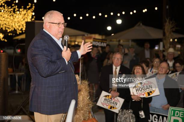 Maryland's incumbent GOP governor Larry Hogan addresses voters during a rally in Gaithersburg, Md., on October 23, 2018. Hogan has been endorsed by...