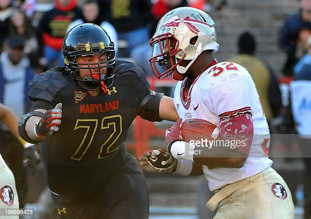Maryland's Joe Vellano pursues Florida State's James Wilder Jr in the fourth quarter at Byrd Stadium in College Park Maryland on Saturday November 17...