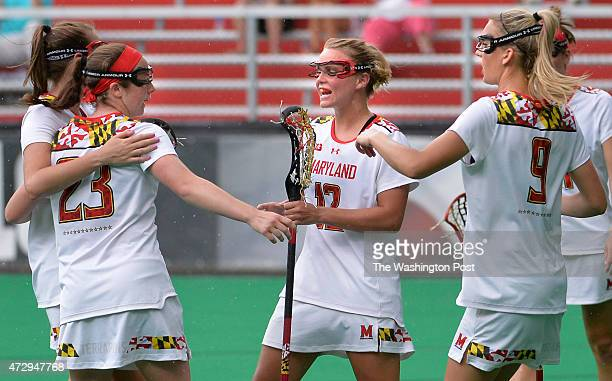 Maryland's Megan Whittle celebrated with teammates after scoring late in the first half action on May 10, 2015 in College Park, Md. Whittle scored...