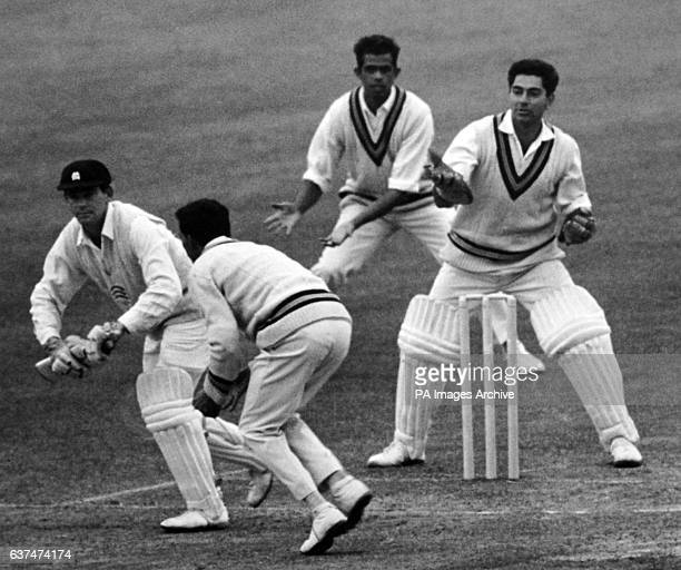 Marylebone Cricket Club batsman Robin Hobbs is caught out by India's Rusi Surti for 21 runs as India's Wicketkeeper Farokh Engineer looks on