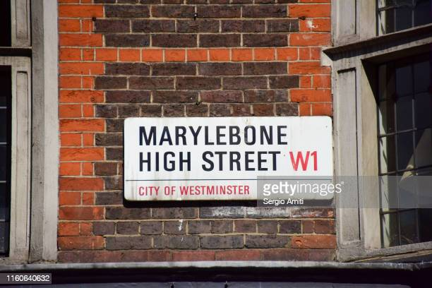 marylebone high street sign - sergio amiti stock pictures, royalty-free photos & images