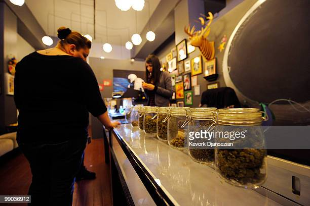 Marylin Rodriguez gets her prescriptions filled at Sunset Junction medical marijuana dispensary on May 11, 2010 in Los Angeles, California. The...