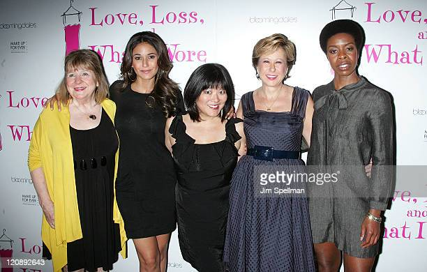 Marylouise Burke Emmanuelle Chriqui Ann Harada Yeardley Smith and Roslyn Ruff attend the Love Loss And What I Wore new cast member celebration at B...
