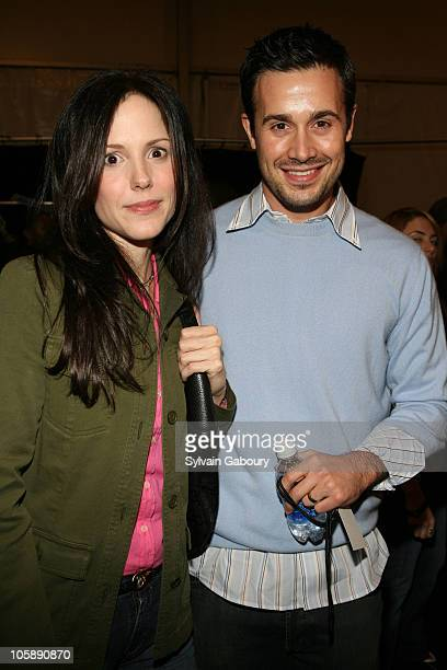 MaryLouise Parker and Freddie Prinze Jr during Olympus Fashion Week Fall 2006 Lacoste Backstage at Bryant Park in New York City New York United States