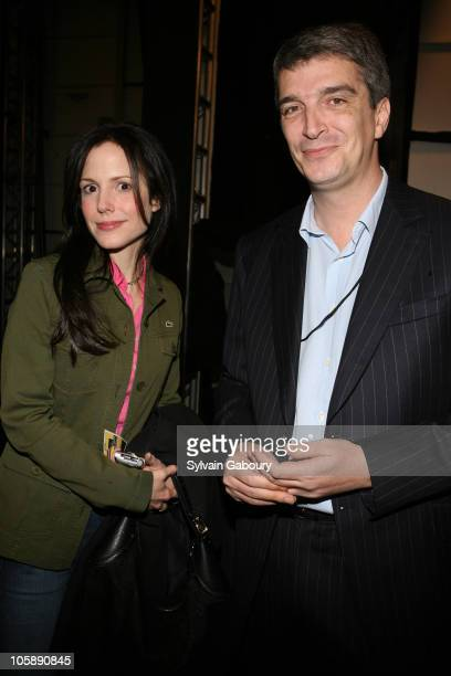 MaryLouise Parker and Philippe Lacoste during Olympus Fashion Week Fall 2006 Lacoste Backstage at Bryant Park in New York City New York United States