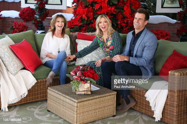 MaryMargaret Humes Debbie Matenopoulos and Cameron Mathison on the set of Hallmark's Home Family at Universal Studios Hollywood on November 5 2018 in...