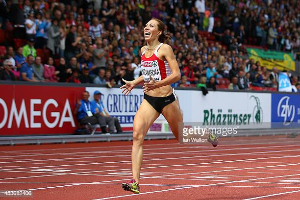 Maryna Arzamasova of Belarus crosses the finish line to win gold in the Women's 800 metres final during day five of the 22nd European Athletics...