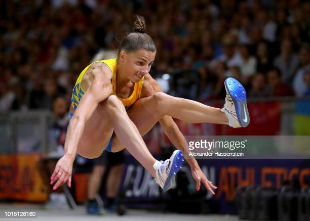 Maryna Bekh of Ukraine competes in the Women's Long Jump Final during day five of the 24th European Athletics Championships at Olympiastadion on...