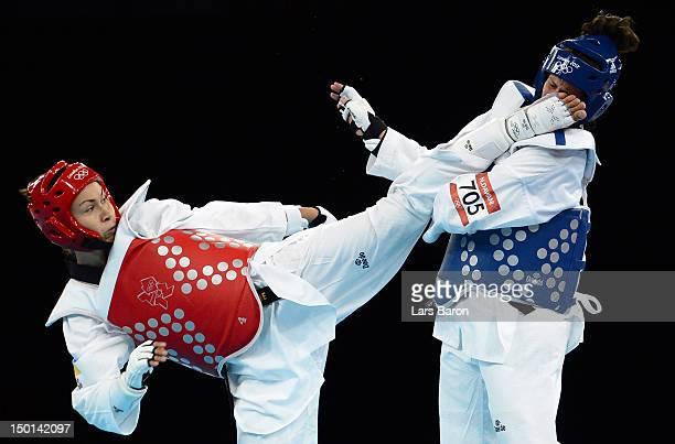 Maryna Konieva of Ukraine competes against Nadin Dawani of Jordan during the Women's 67kg Taekwondo Preliminary Round on Day 15 of the London 2012...