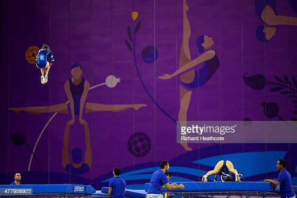 Maryna Kyiko and Nataliia Moskvina of Ukraine compete during the Women's Gymnastics Trampoline synchronised final on day nine of the Baku 2015...