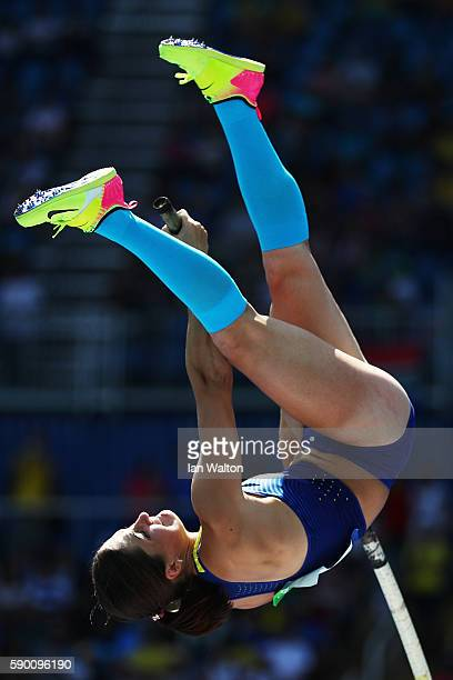 Maryna Kylypko of Ukraine competes during the Women's Pole Vault Qualifying Round Group A on Day 11 of the Rio 2016 Olympic Games at the Olympic...