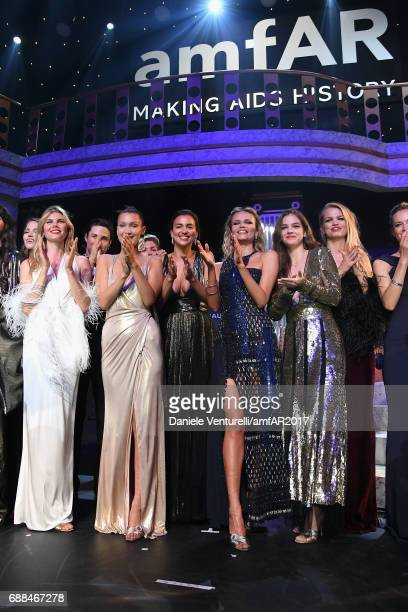 Maryna Linchuk Bella Hadid Irina Shayk Natasha Poly Barbara Palvin and Daphne Groeneveld are seen on stage at the amfAR Gala Cannes 2017 at Hotel du...