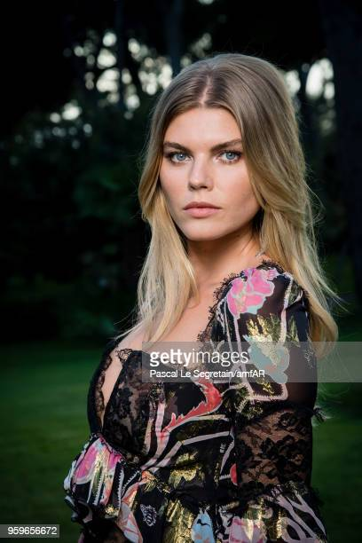 Maryna Linchuk poses for portraits at the amfAR Gala Cannes 2018 cocktail at Hotel du CapEdenRoc on May 17 2018 in Cap d'Antibes France