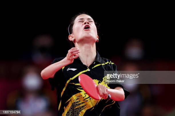 Maryna Lytovchenko of Team Ukraine celebrates winning the Gold medal during the Women's Singles C6 Final on day 6 of the Tokyo 2020 Paralympic Games...