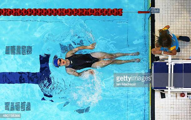 Maryna Verbova of Ukraine competes in the heats of the Women's 150m IM SM4 during Day Three of The IPC Swimming World Championships at Tollcross...