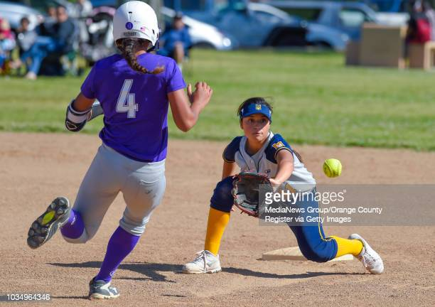 MaryÕs StarÕs Ashley Rico catches the ball to put out St AnathonyÕs Tiare Jennings at second base in Long Beach on Wednesday April 12 2017 St...