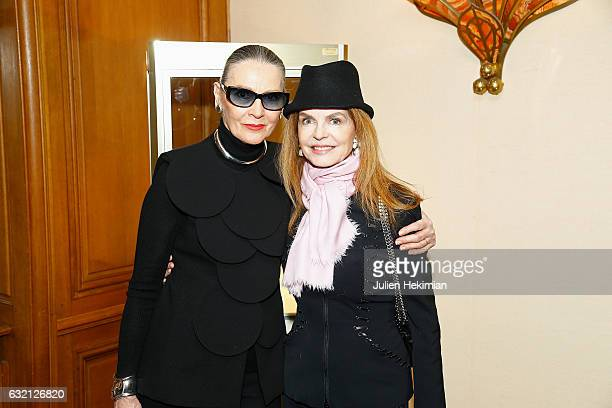 Maryse Gaspard and Cyrielle Clair attend the Pierre Cardin Jewellery Presentation as part of Paris Fashion Week on January 19 2017 in Paris France