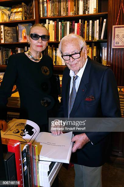 Maryse Gaspard and Pierre Cardin attend Princess Gloria Von Thurn und Taxis signs her Book 'The House of Thurn und Taxis' Held at Librairie Galignani...