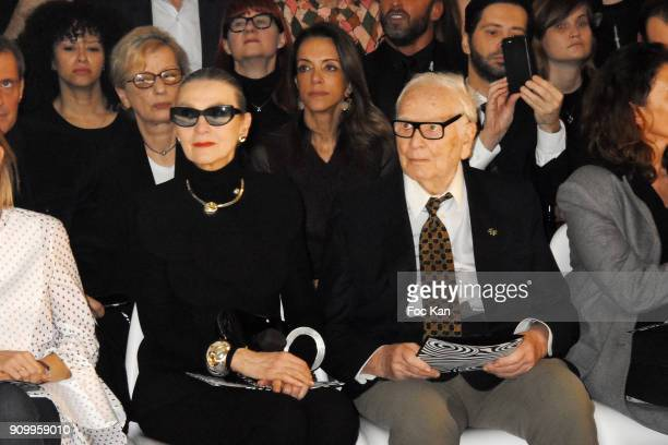 Maryse Gaspard and Pierre Cardin attend the JeanPaul Gaultier Haute Couture Spring Summer 2018 show as part of Paris Fashion Week on January 24 2018...