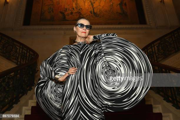 Maryse Gaspard attends Pierre Cardin's 95th Birthday Celebration during the Pierre Cardin 70 Years of Innovation fashion show at The Breakers on June...