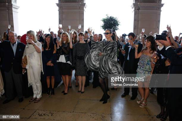 Maryse Gaspard celbrates after the Pierre Cardin 70 Years Of Innovation fashion show at The Breakers on June 17 2017 in Newport Rhode Island