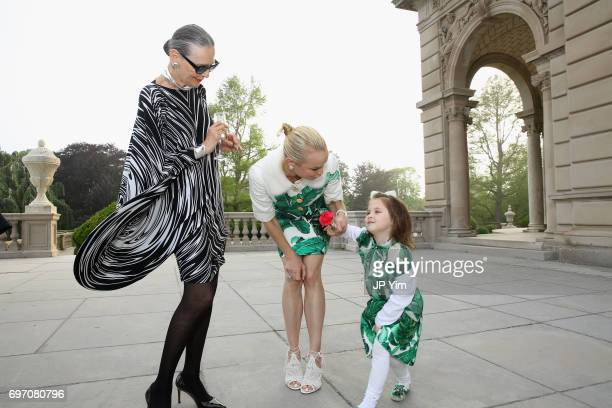 Maryse Gaspard Elizabeth Lillien and Elizabeth Margaux attend Pierre Cardin's 95th Birthday Celebration during the Pierre Cardin 70 Years of...
