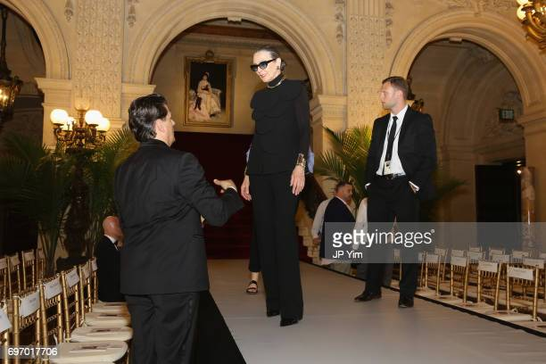 Maryse Gaspard prepares for the Pierre Cardin 70 Years of Innovation fashion show at The Breakers on June 17 2017 in Newport Rhode Island