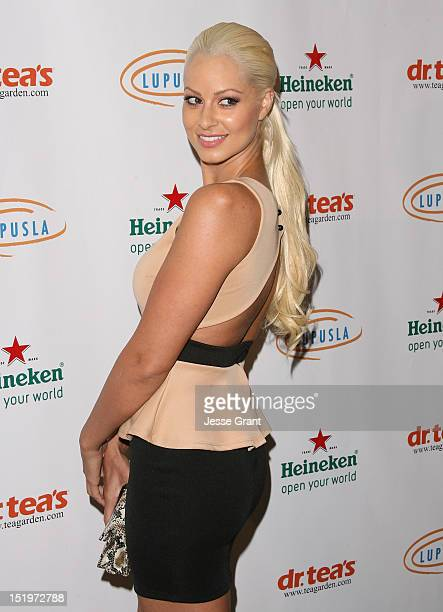 Maryse Ouellet arrives at the 4th Annual 'Get Lucky For Lupus' Poker Tournament Benefiting Lupus LA held at the Peterson Automotive Museum on...