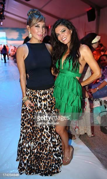 Marysol Patton and Adriana de Moura attend Maaji Swimwear MercedesBenz Fashion Week Swim 2014 Front Row at Raleigh Hotel on July 21 2013 in Miami...