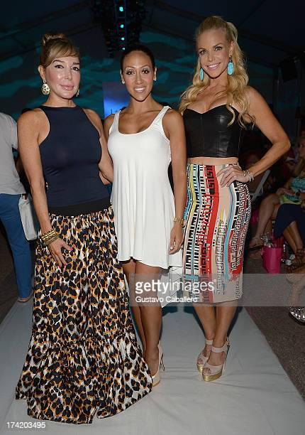 Marysol Patton Melissa Gorga and Alexia Echevarria pose backstage with Ipanema at the L*SPACE By Monica Wise show during MercedesBenz Fashion Week...