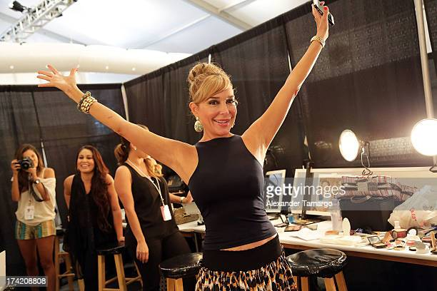 Marysol Patton of The Real Housewives of Miami Beach prepares backstage at the Maaji Swimwear show during MercedesBenz Fashion Week Swim 2014 at...