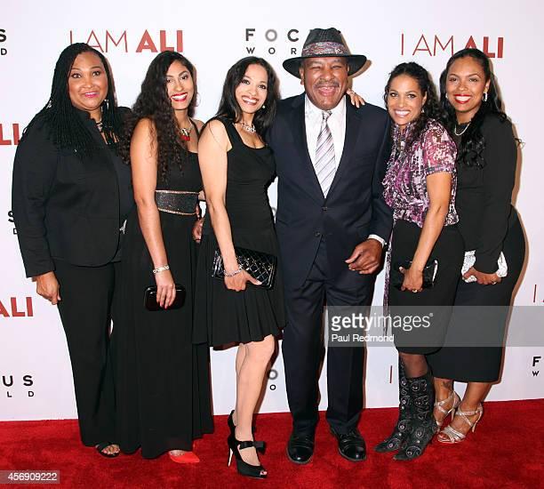 Maryum Ali Guest Rasheda AliWalsh Rahman Ali Jamillah AliJoyce and Hana Ali arriving at the Los Angeles premiere of Focus World's I Am Ali at...