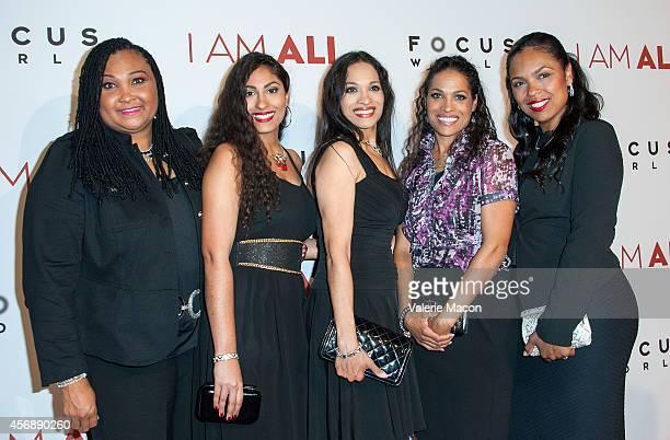 Maryum Ali Rasheda AliWalsh Khaliah Ali Jamillah AliJoyce and Hana Ali attend the Premiere Of Focus World's I Am Ali at ArcLight Cinemas on October 8...