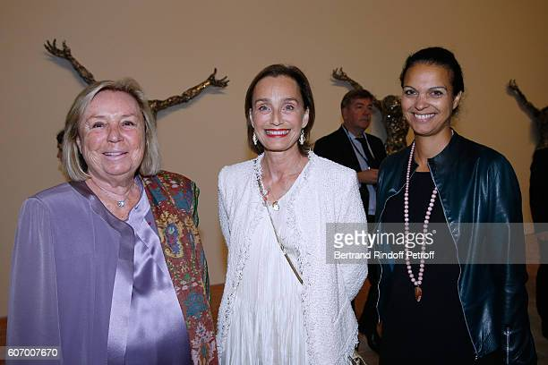 Maryvonne Pinault actress Kristin Scott Thomas and journalist Isabelle Giordano attend the 4O Rue de Sevres Preview at the Head Offices of Both...